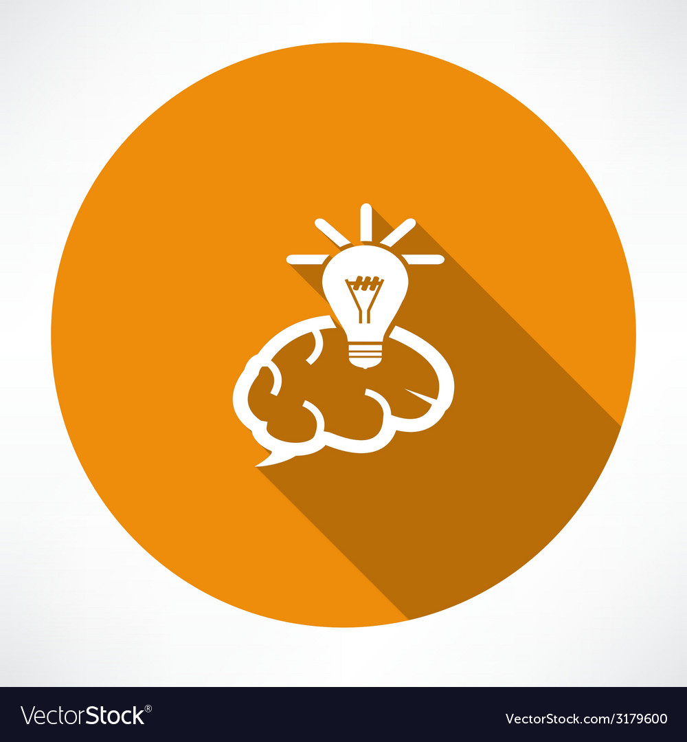 Brain icon with light bulb vector | Price: 1 Credit (USD $1)