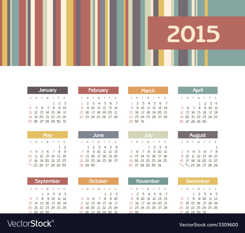 Calendar 2015 year with colored lines vector   Price: 1 Credit (USD $1)