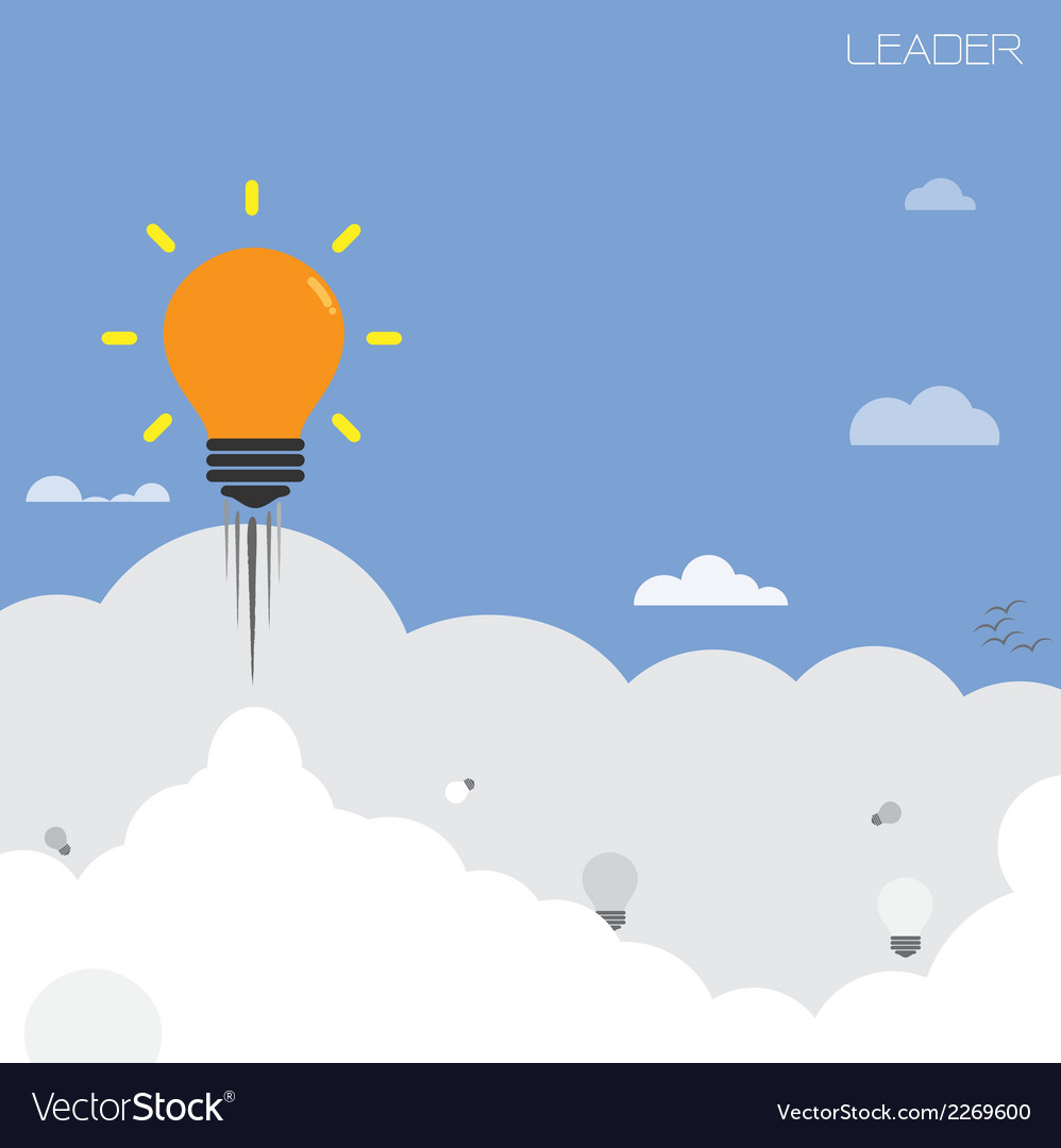 Creative light bulb with blue sky background vector | Price: 1 Credit (USD $1)