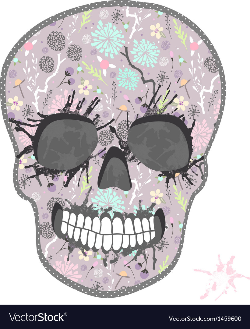 Cute skull with floral pattern vector | Price: 1 Credit (USD $1)
