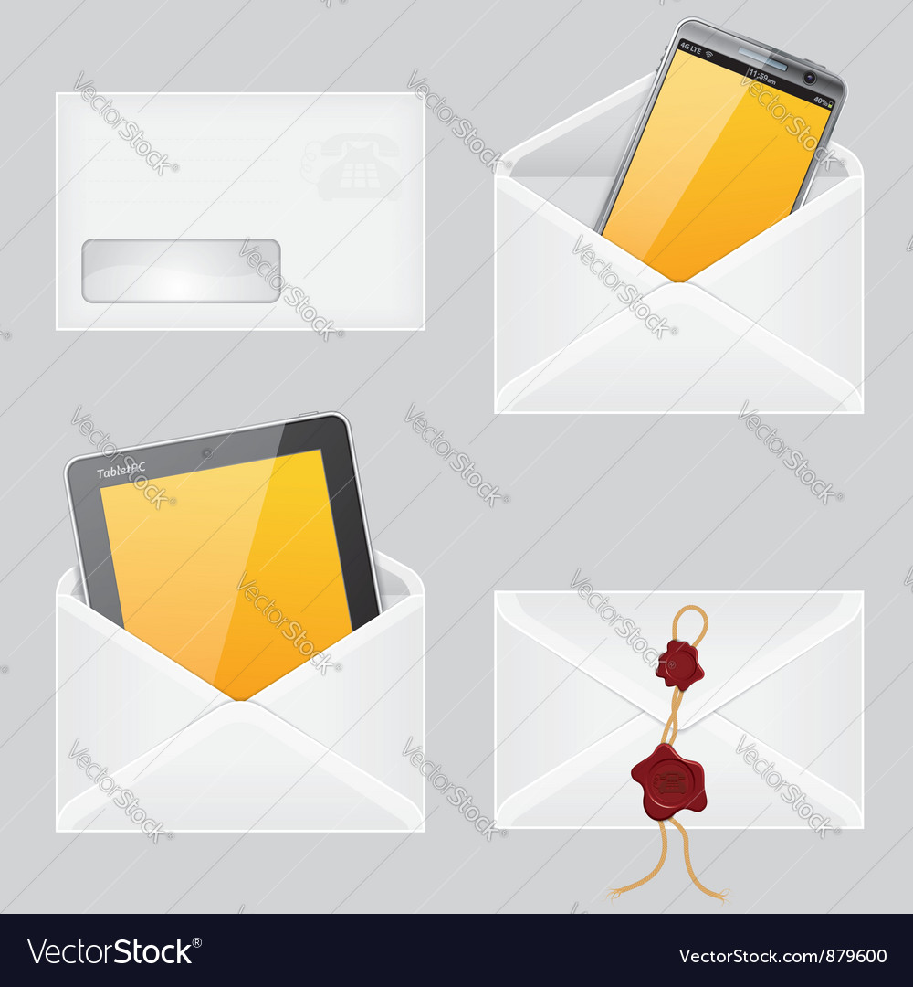 Envelopes with smart phone vector | Price: 1 Credit (USD $1)