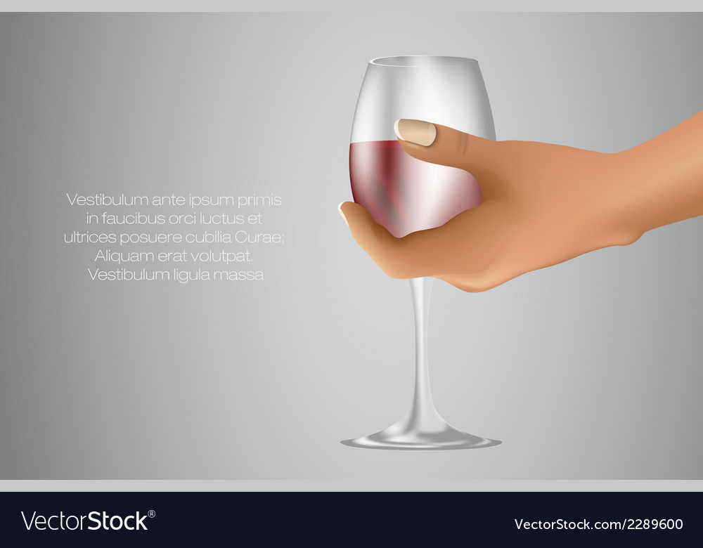 Glass of red wine in hand vector   Price: 1 Credit (USD $1)