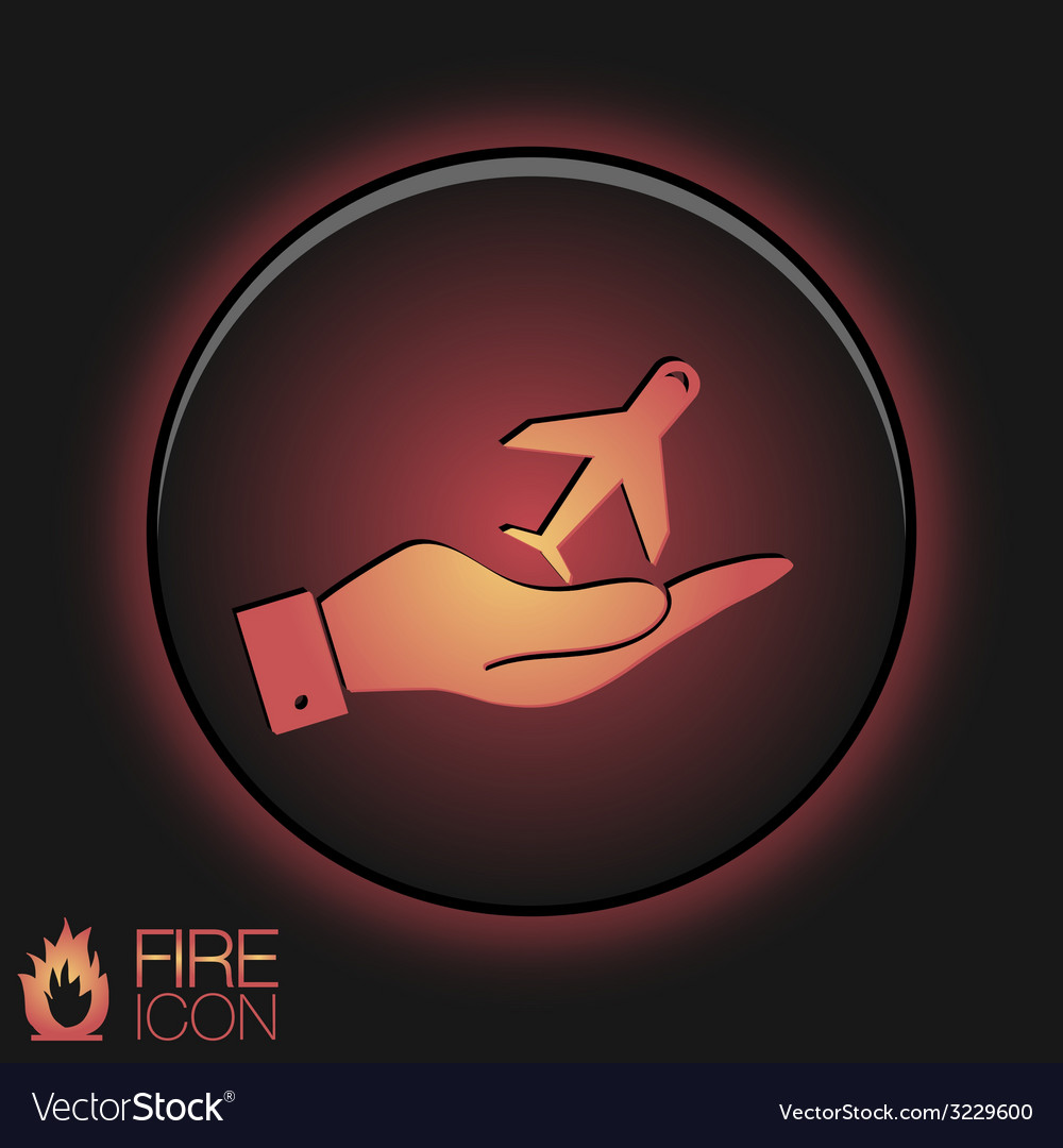 Hand holding a airplane symbol icon of air travel vector   Price: 1 Credit (USD $1)