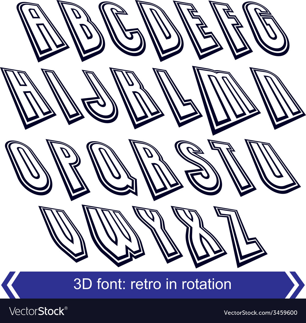Outlined rotated font monochrome lined letters set vector | Price: 1 Credit (USD $1)