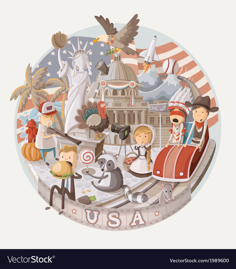 Plate design with items from usa vector | Price: 5 Credit (USD $5)