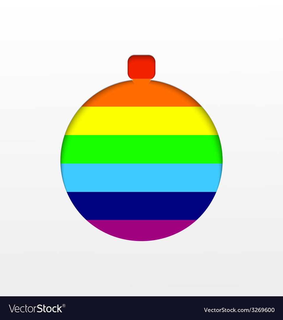 Rainbow christmas ball background vector | Price: 1 Credit (USD $1)