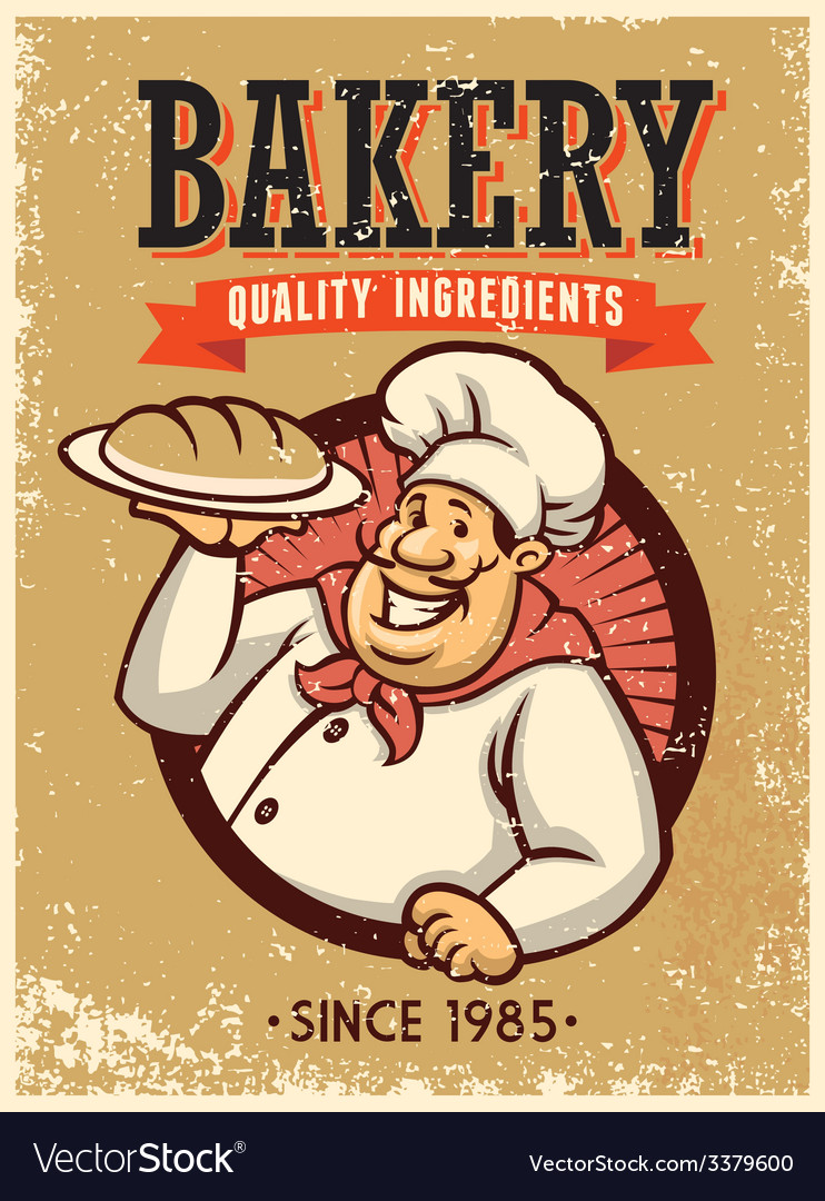 Retro style baker presenting a bread vector | Price: 3 Credit (USD $3)