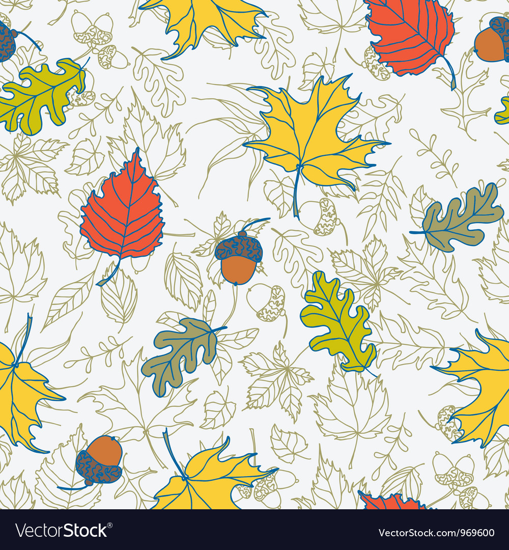 Seamless pattern with autumn leaves vector | Price: 1 Credit (USD $1)