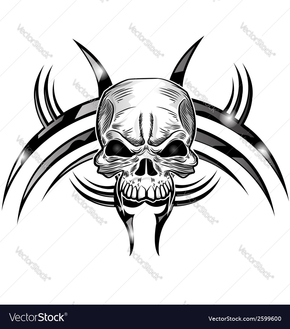 Skull tattoo design isolate on white vector | Price: 1 Credit (USD $1)