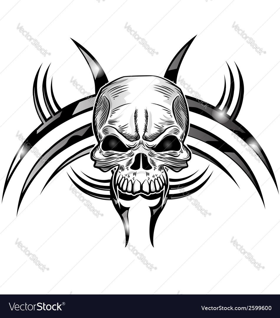 Skull tattoo design isolate on white vector | Price: 1 Credit (USD $1)