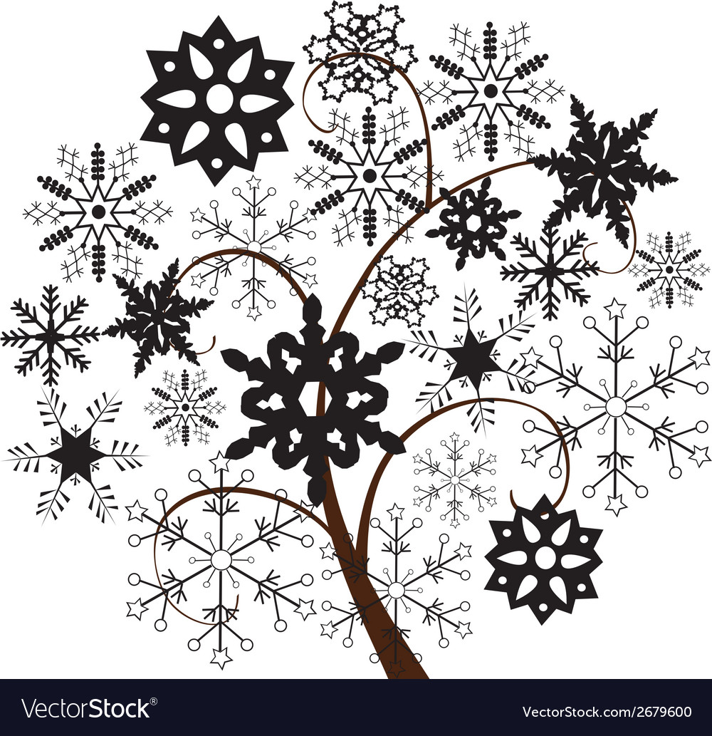 Snow tree b vector | Price: 1 Credit (USD $1)