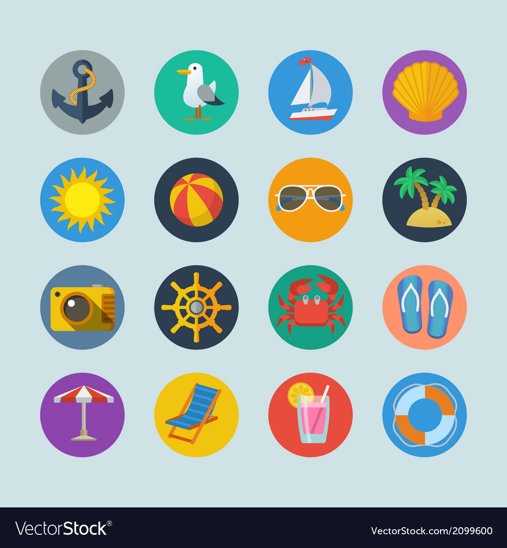 Summer sea holidays icons vector | Price: 1 Credit (USD $1)