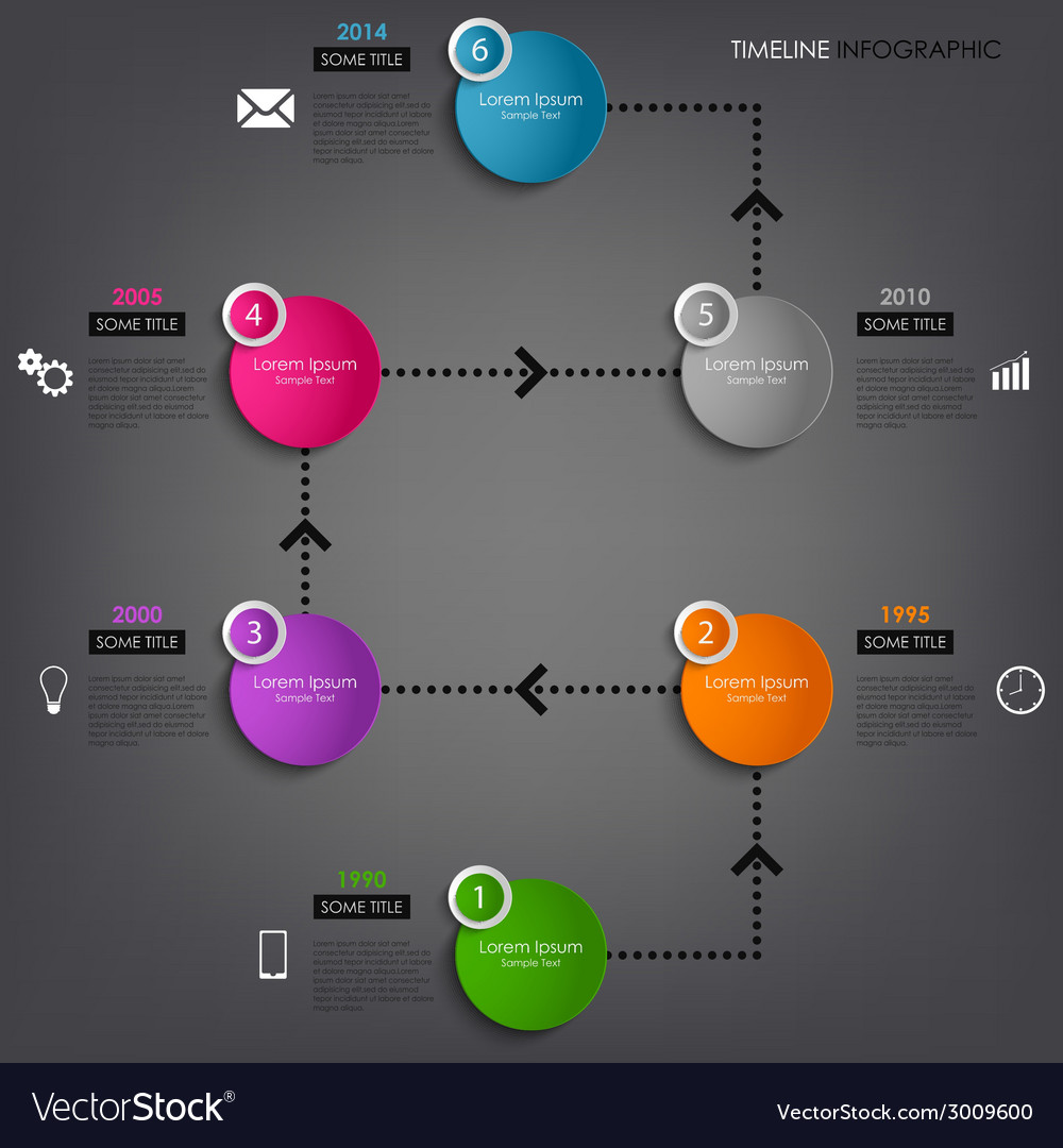 Time line info graphic colored round element vector | Price: 1 Credit (USD $1)