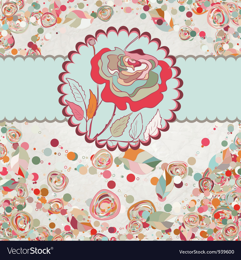 Vintage card with rose template eps 8 vector | Price: 1 Credit (USD $1)