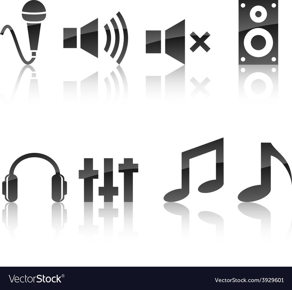 Audio icon set vector | Price: 1 Credit (USD $1)