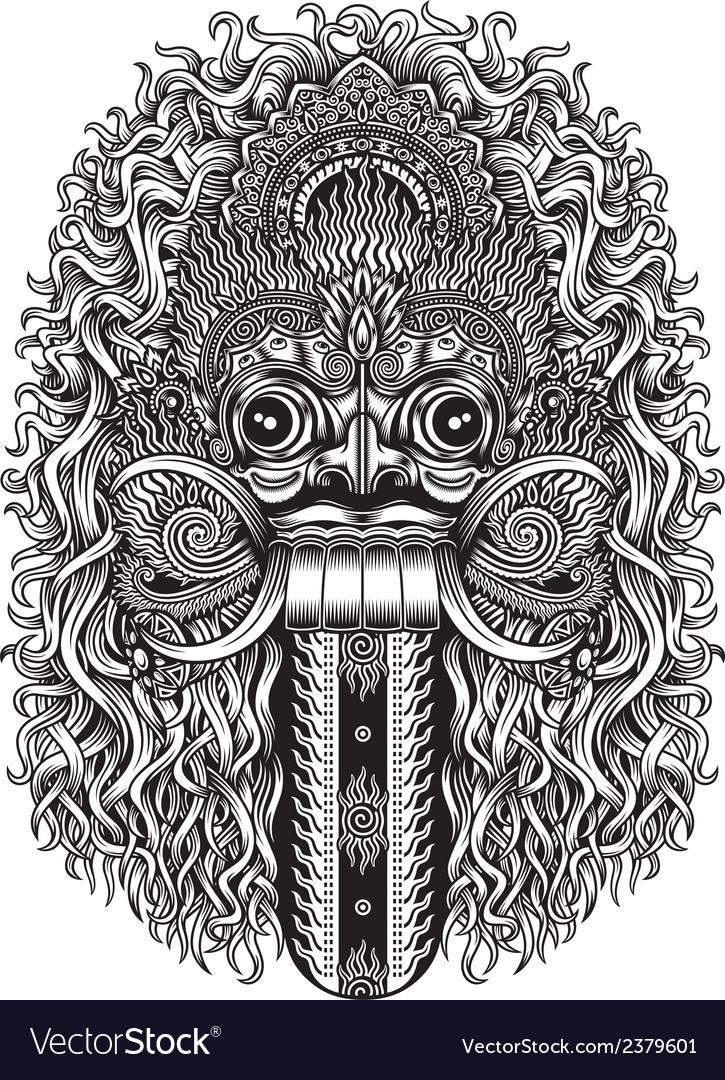 Balinese demon mask vector | Price: 3 Credit (USD $3)