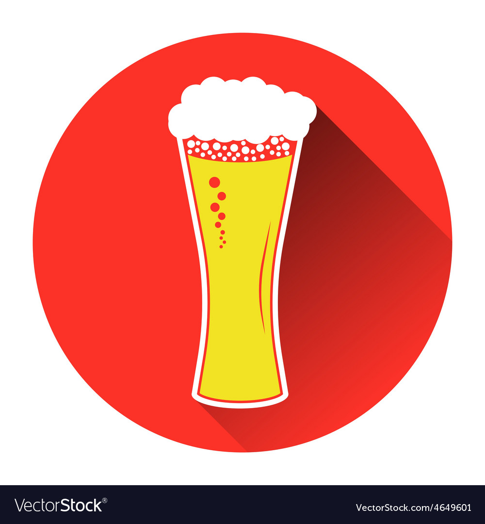 Beer in glass icon flat vector | Price: 1 Credit (USD $1)