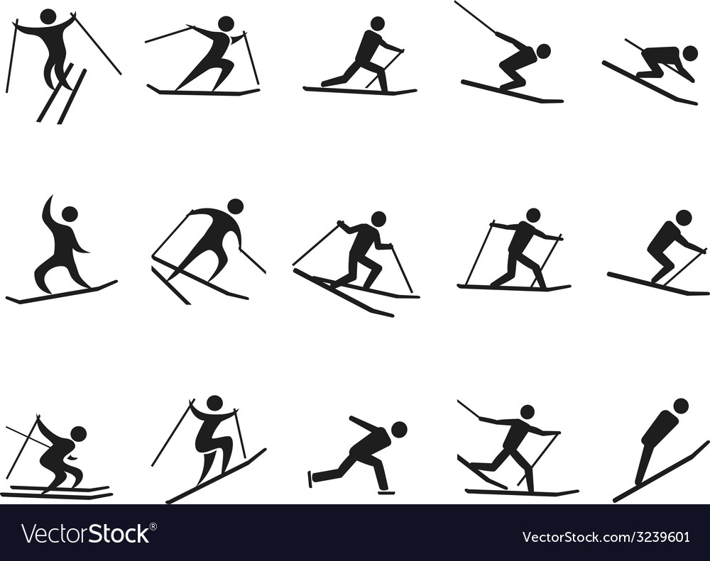 Black skiing stick figure icons set vector | Price: 1 Credit (USD $1)
