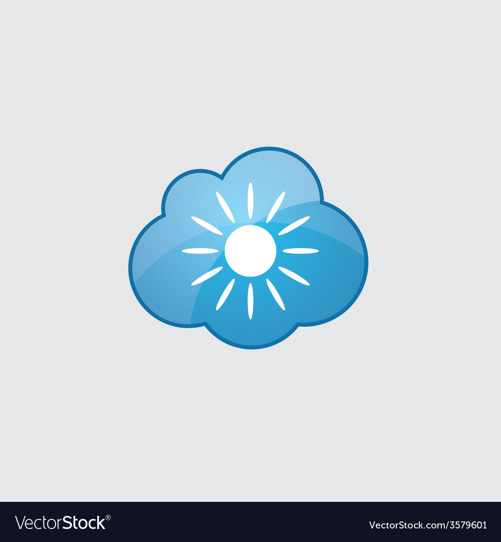 Blue cloud sun icon vector | Price: 1 Credit (USD $1)
