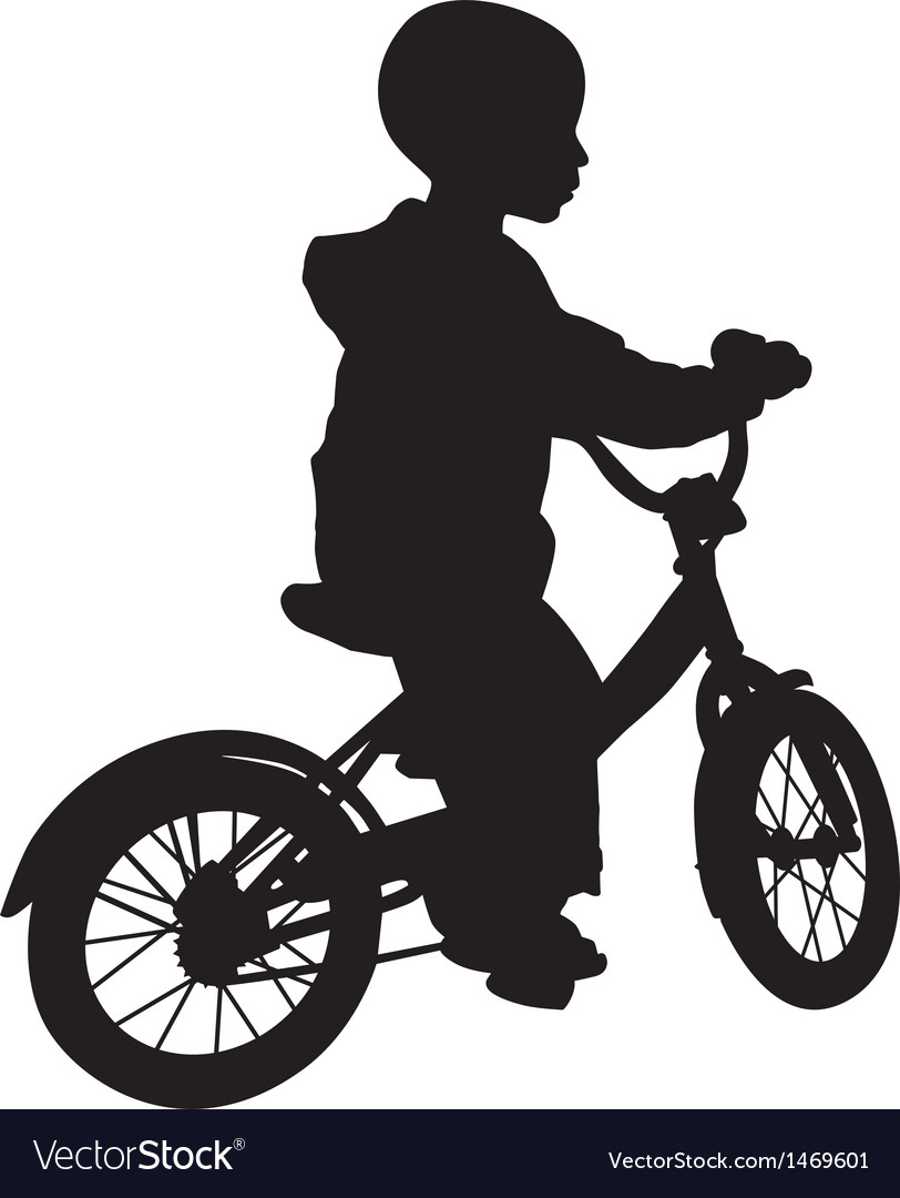 Boy and bicycle silhouette vector | Price: 1 Credit (USD $1)