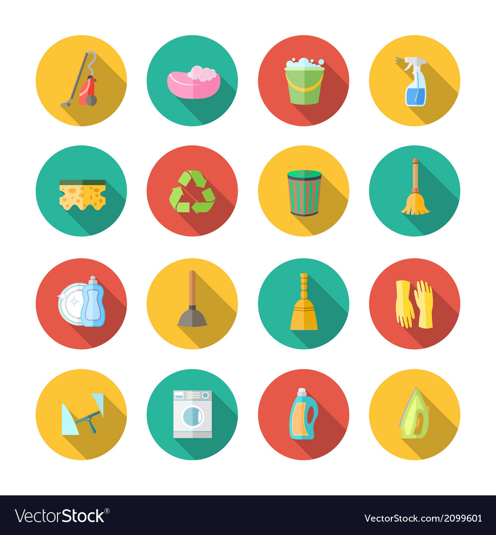 Cleaning icons flat set vector | Price: 1 Credit (USD $1)