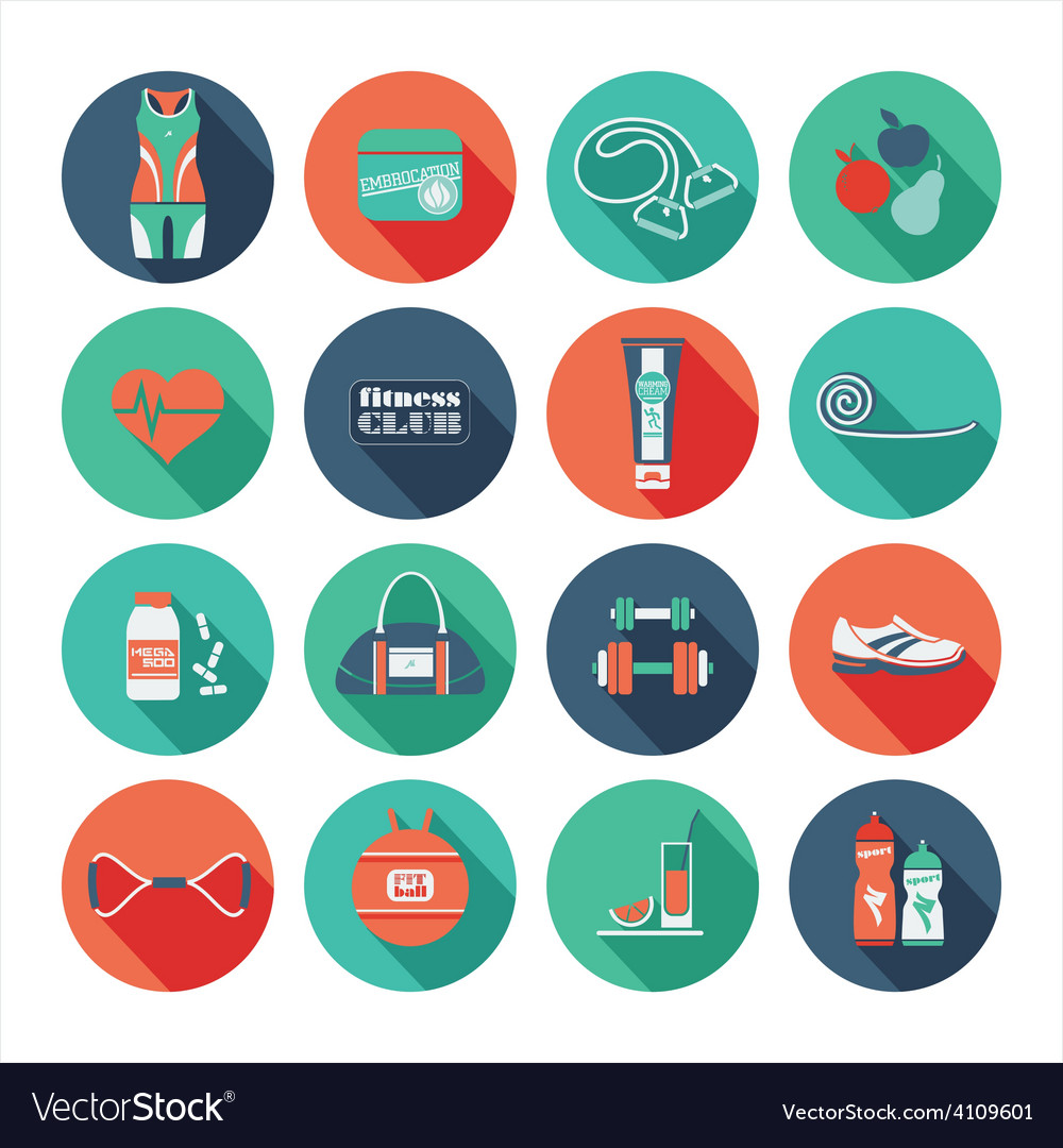Fitness icons set flat design vector | Price: 1 Credit (USD $1)