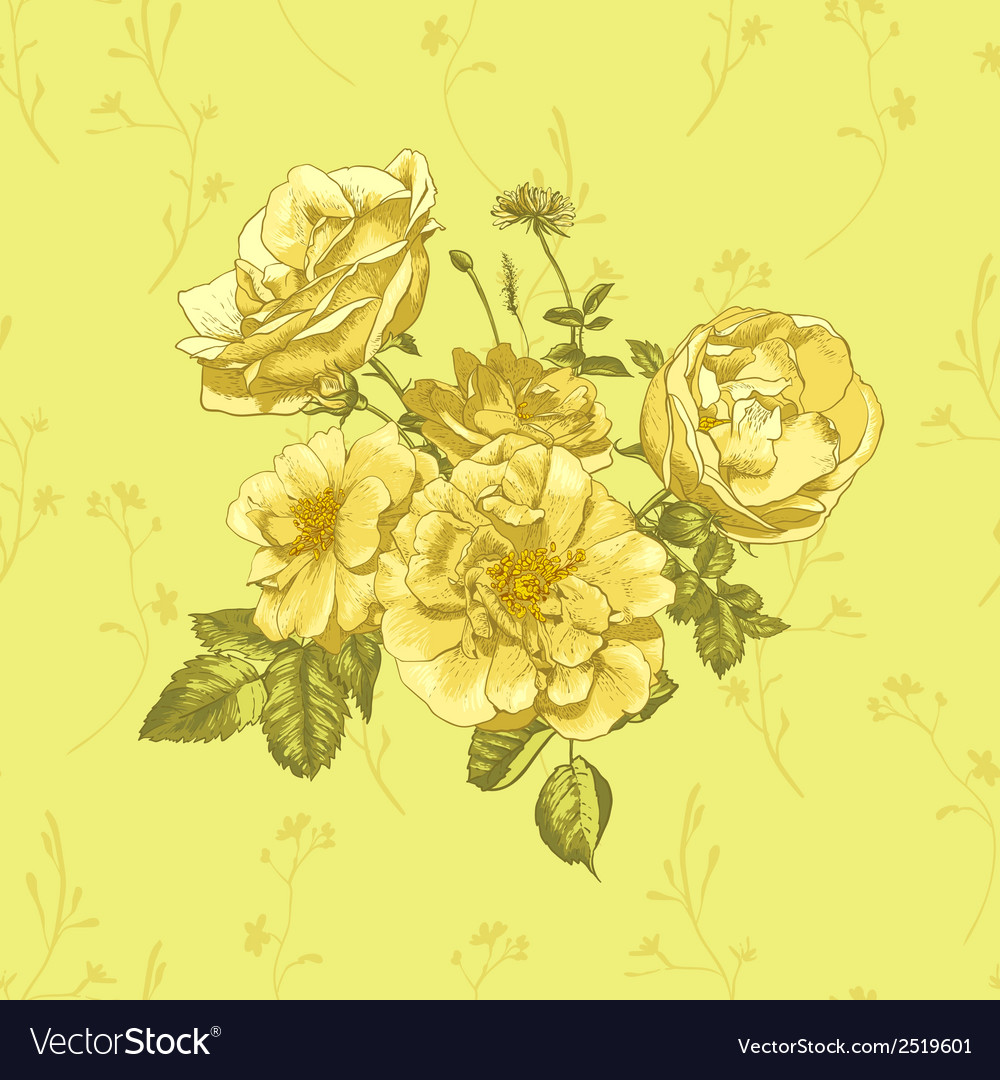 Floral greeting card with blossom roses vector | Price: 1 Credit (USD $1)