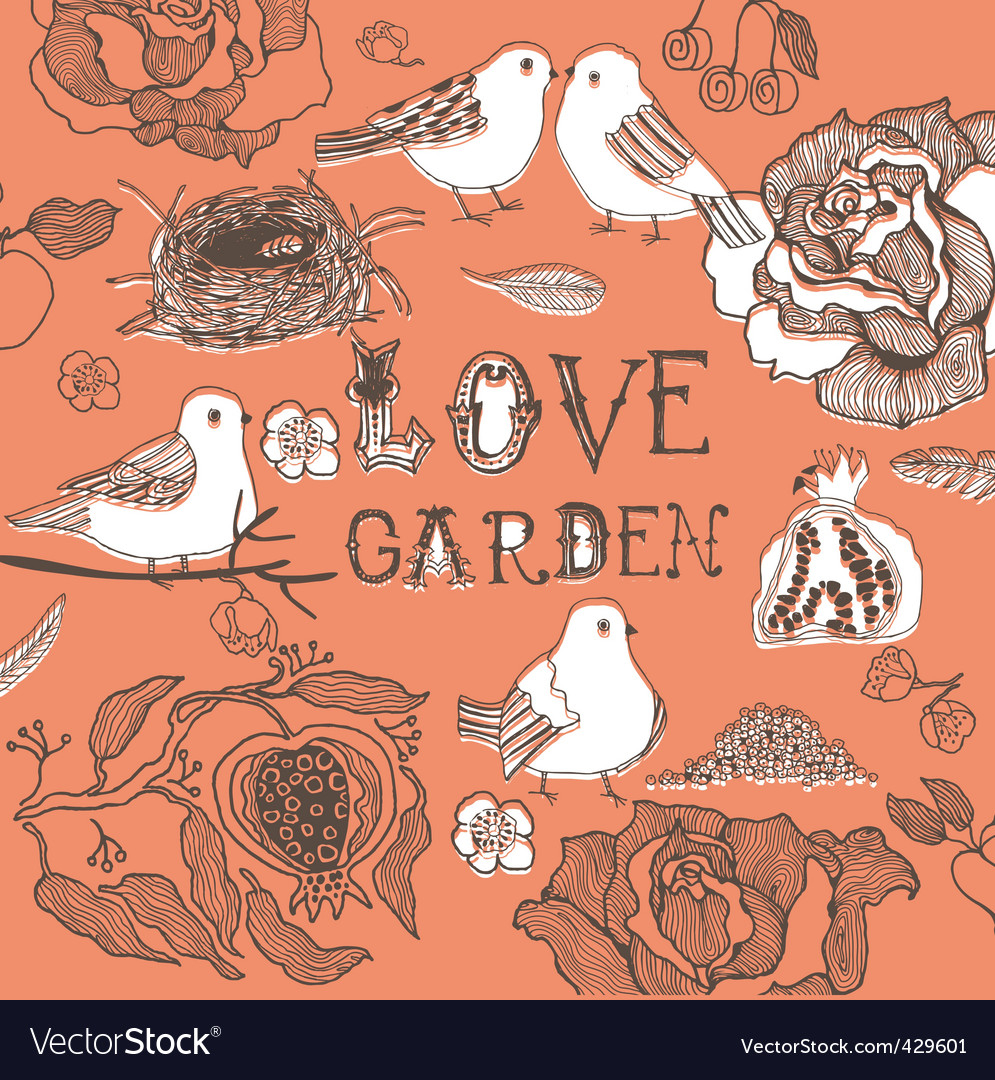 Love birds in garden vector | Price: 1 Credit (USD $1)