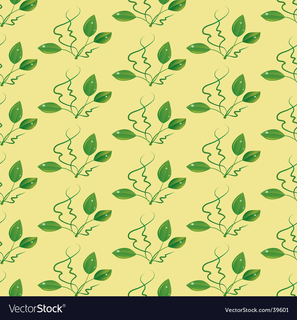 Seamless background with green leaves vector | Price: 1 Credit (USD $1)