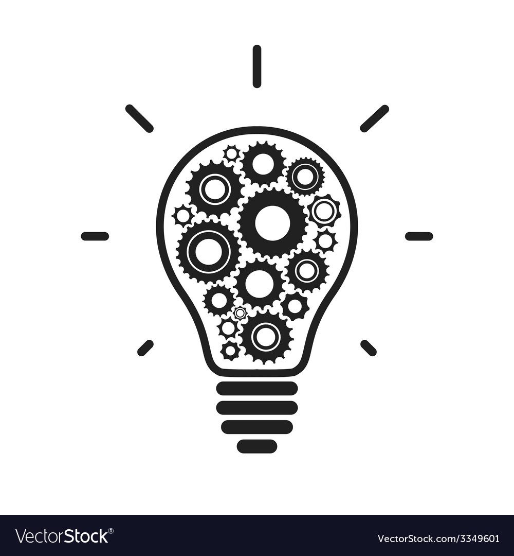 Simple light bulb conceptual icon with gears vector | Price: 1 Credit (USD $1)