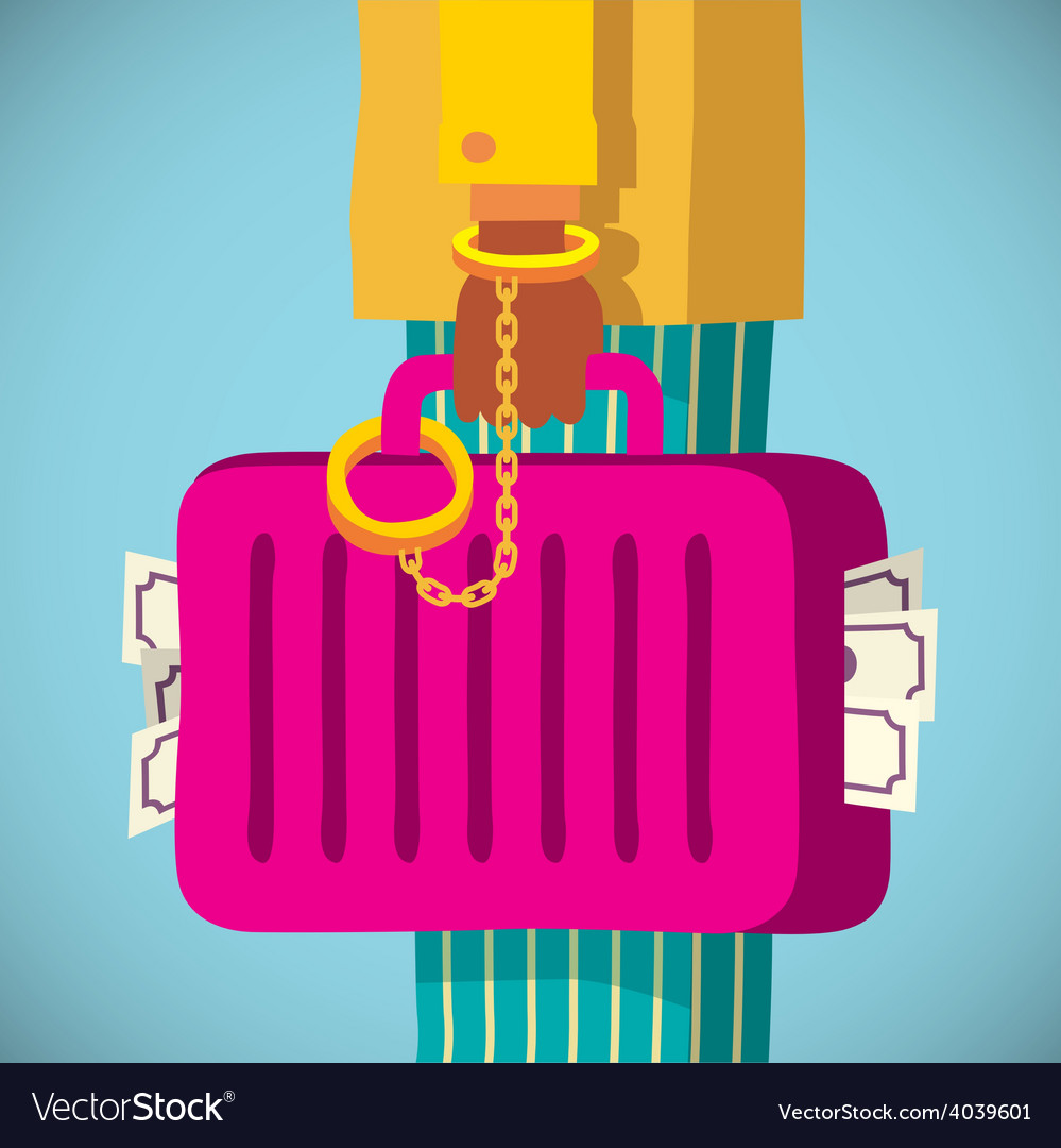 Suitcase with money handcuffed to a mafia vector | Price: 1 Credit (USD $1)