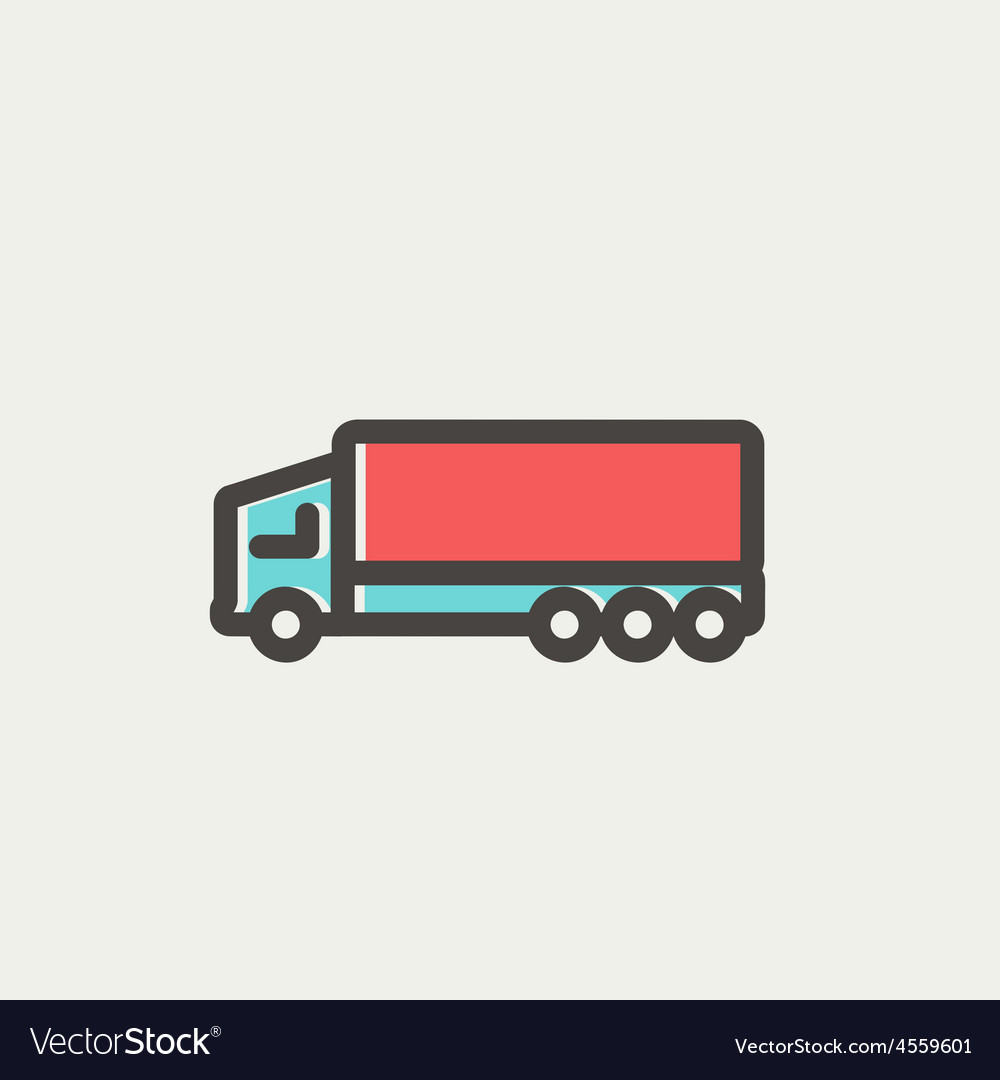Trailer truck thin line icon vector | Price: 1 Credit (USD $1)