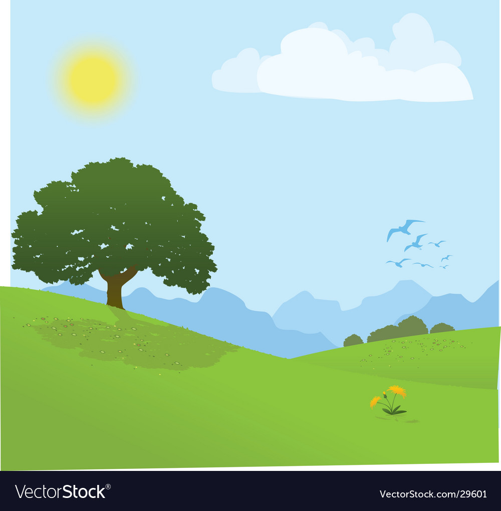 Tree on a hill vector | Price: 1 Credit (USD $1)