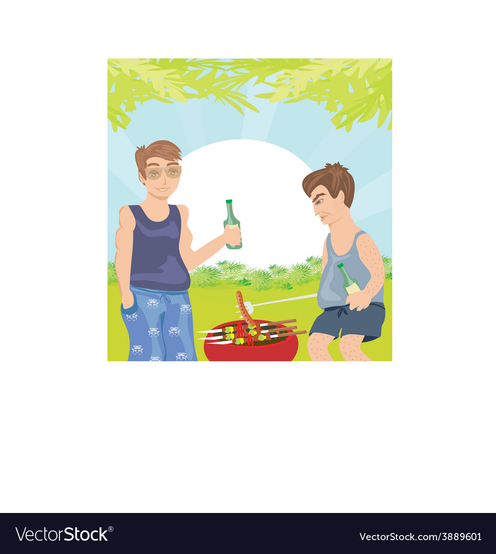 Two men barbecuing - funny barbecue party vector | Price: 1 Credit (USD $1)