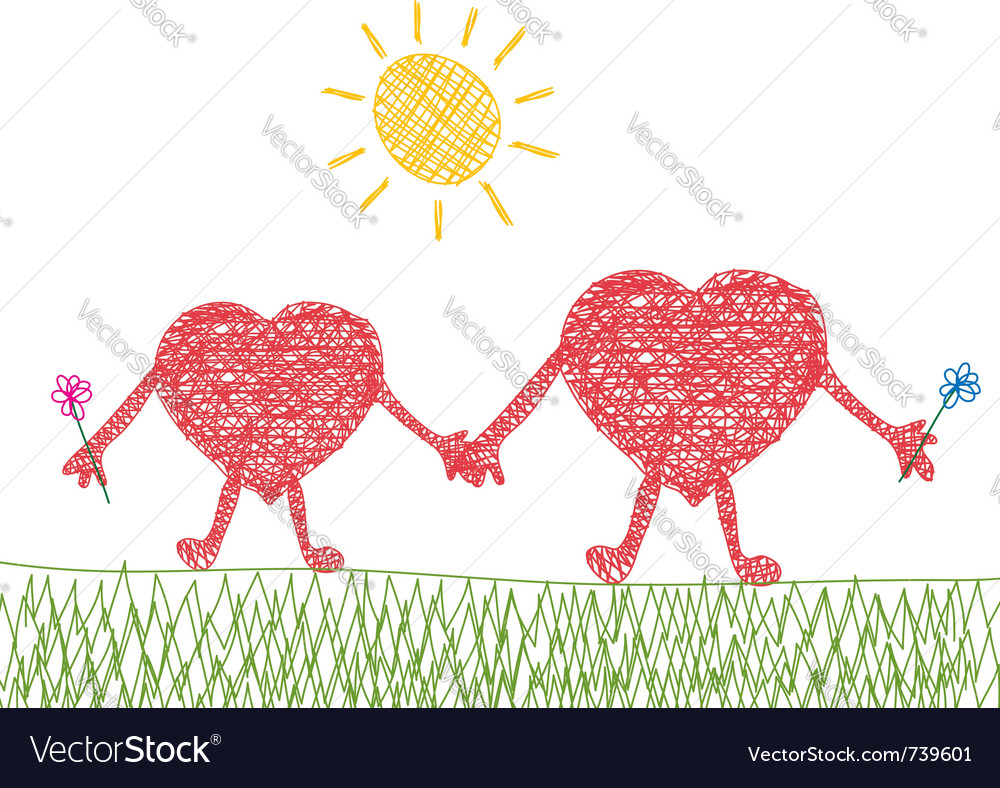 Valentine drawing of two hearts in love vector | Price: 1 Credit (USD $1)