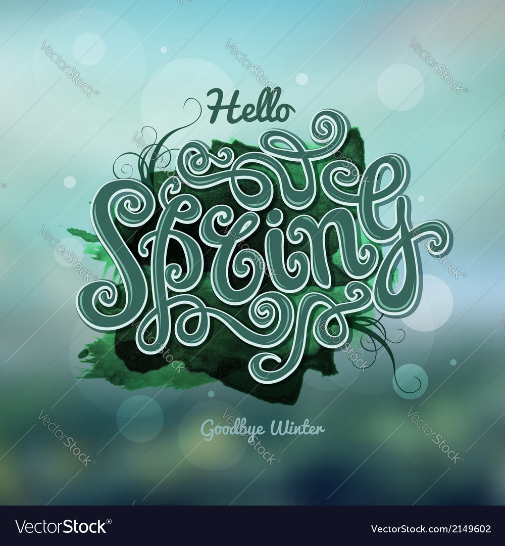 Blurred background spring hand lettering vector | Price: 1 Credit (USD $1)