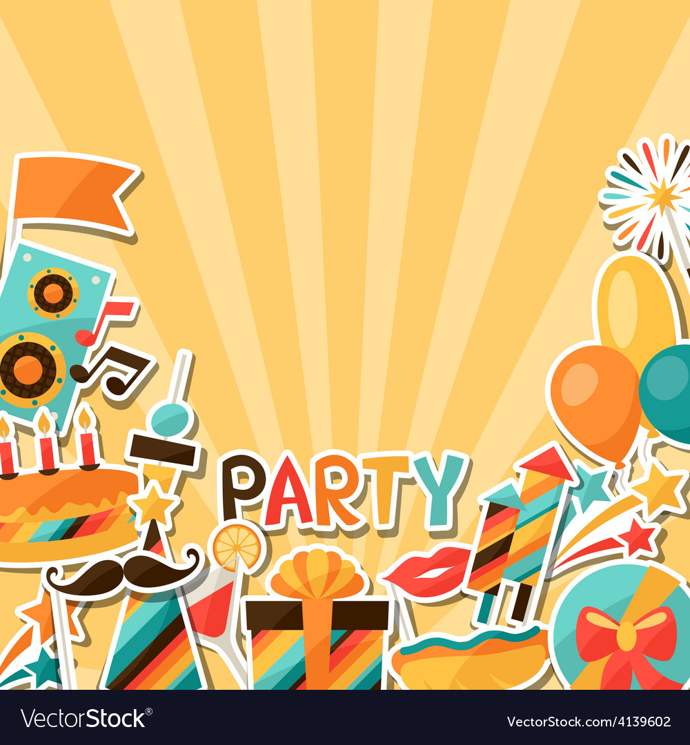 Celebration background with party sticker icons vector | Price: 1 Credit (USD $1)