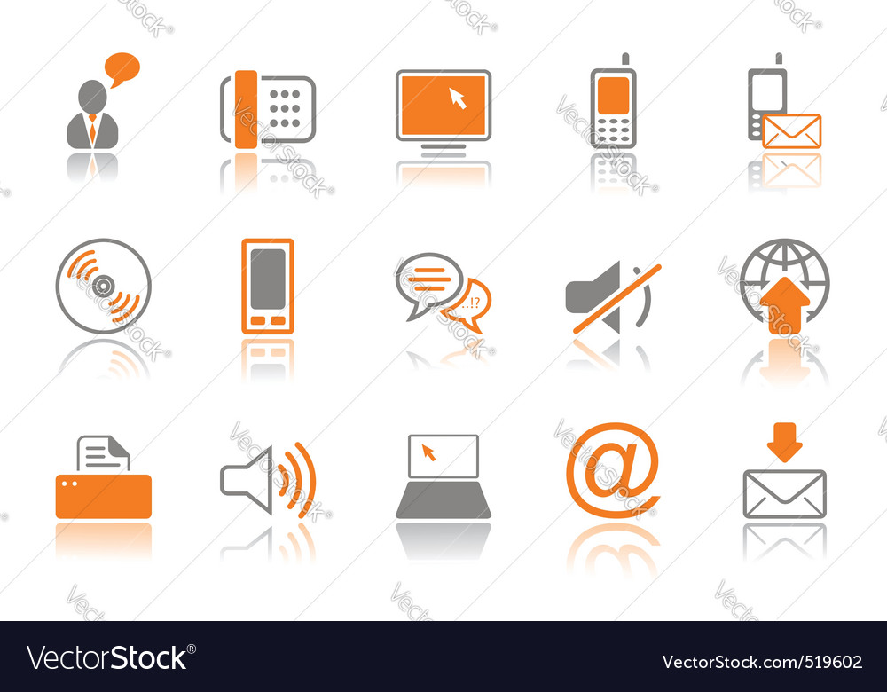 Communication icon set  orang vector | Price: 1 Credit (USD $1)