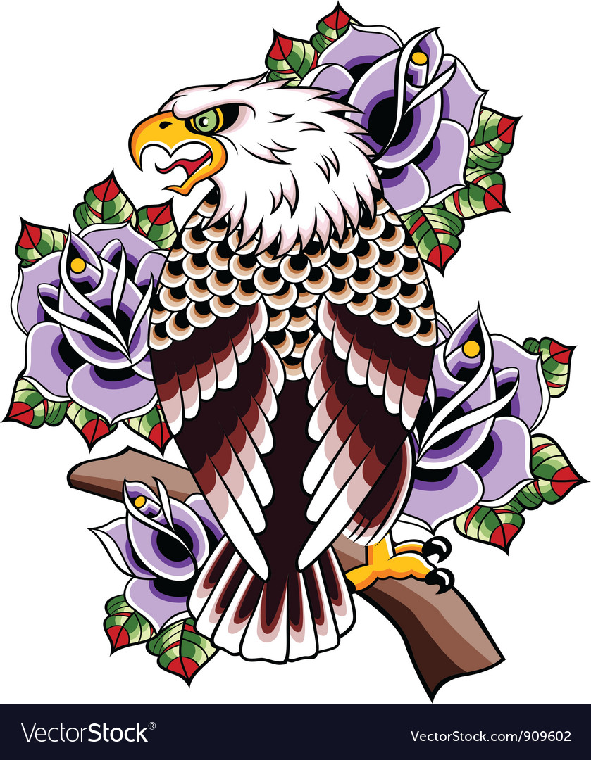 Eagle tattoo with rose vector | Price: 3 Credit (USD $3)