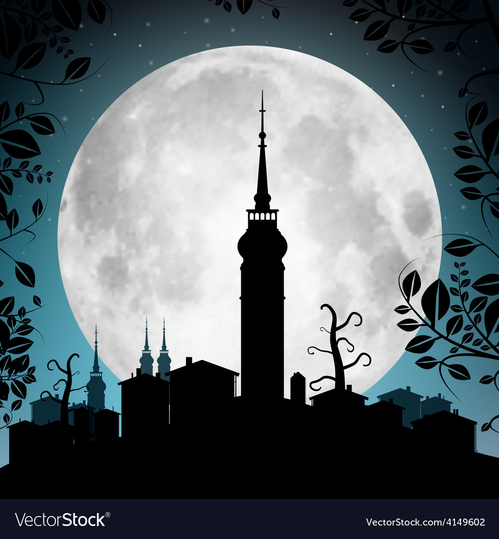 Full moon with town silhouette - houses and vector | Price: 1 Credit (USD $1)