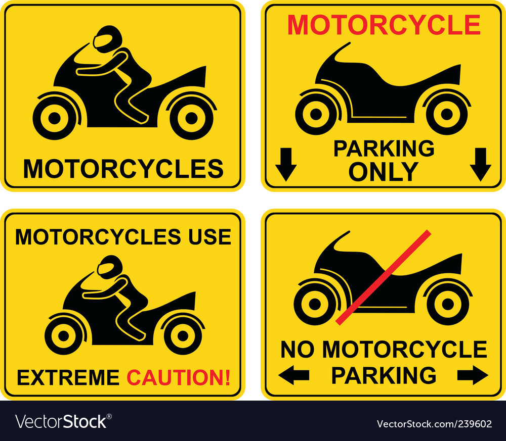 Motorcycle set of road sign vector | Price: 1 Credit (USD $1)