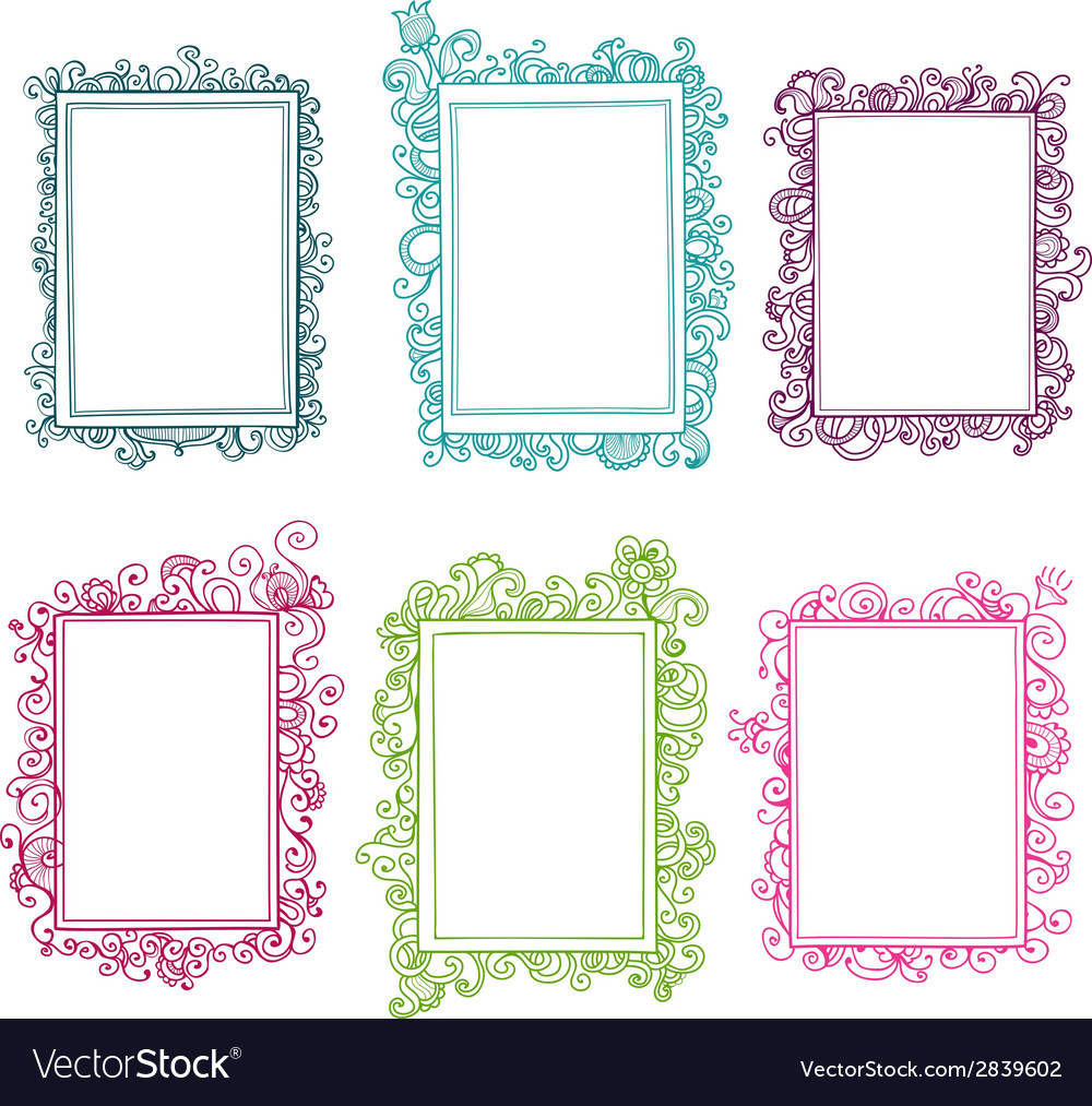 Set of colorful floral frames vector | Price: 1 Credit (USD $1)
