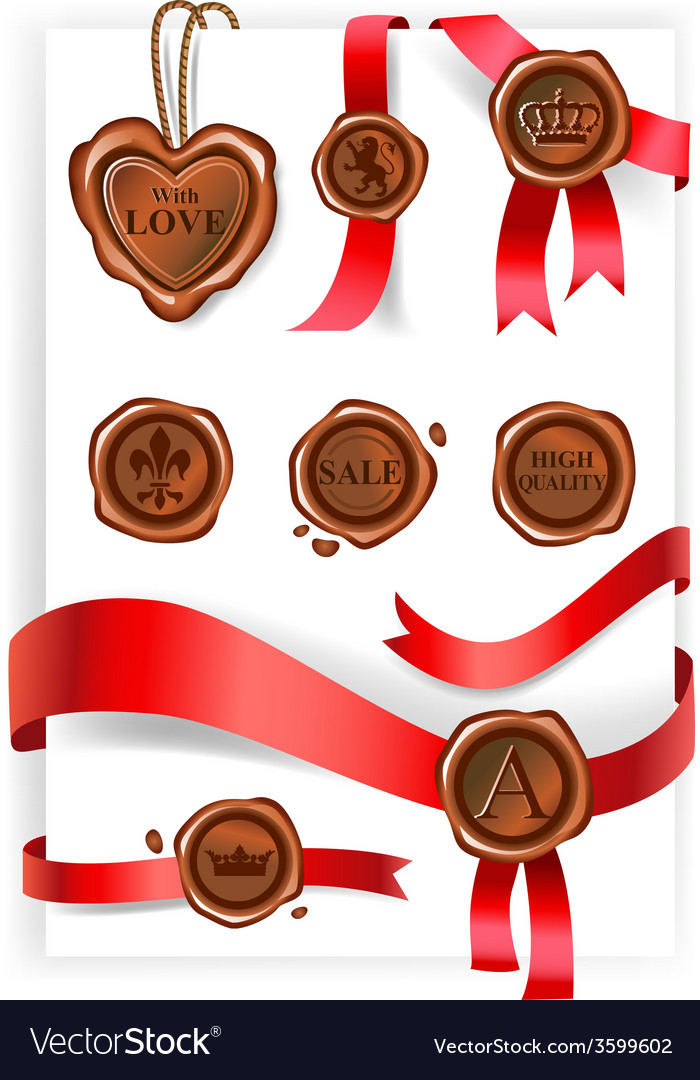 Wax seal and red ribbons collection vector | Price: 1 Credit (USD $1)