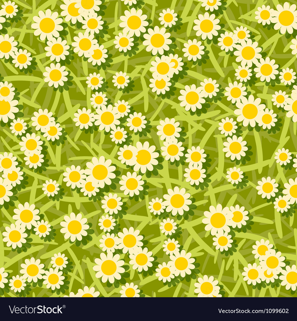 Yellow white flowers seamless background pattern vector | Price: 1 Credit (USD $1)