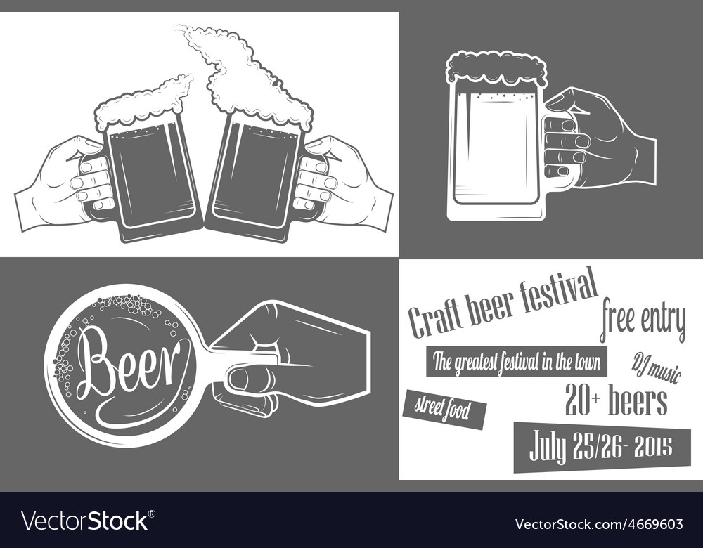 Beer festival two-color poster vector | Price: 1 Credit (USD $1)