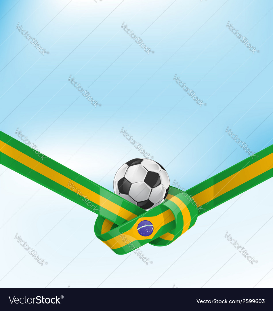 Brazil flag set with soccer ball vector | Price: 1 Credit (USD $1)