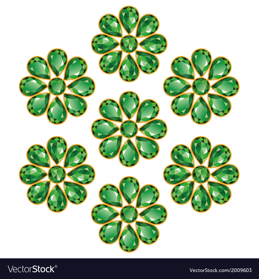 Emerald green flowers isolated objects vector
