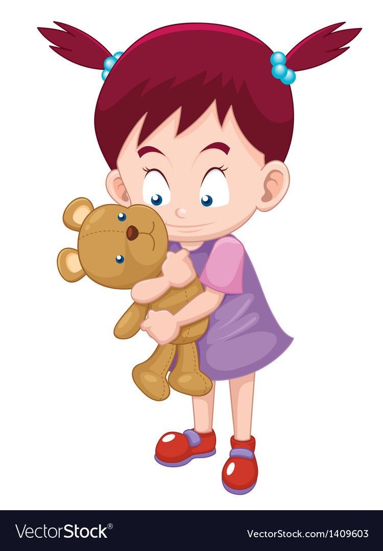 Girl hugging teddy bear vector | Price: 1 Credit (USD $1)