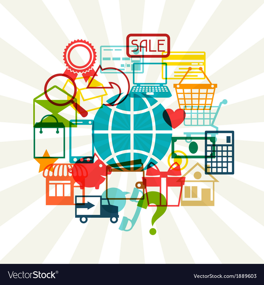 Internet shopping concept background vector | Price: 1 Credit (USD $1)