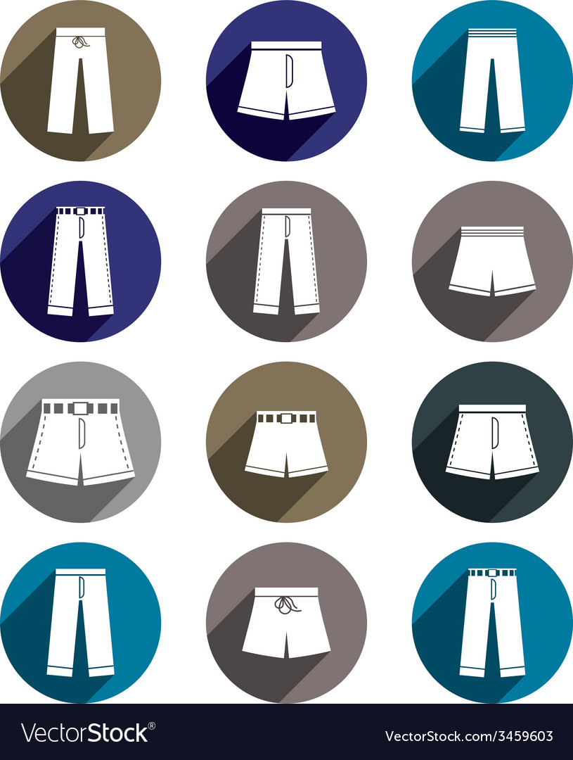 Man jeans and shorts icon set vector | Price: 1 Credit (USD $1)